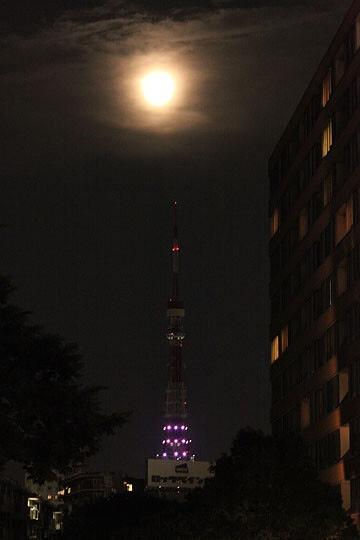 満月と東京タワー
